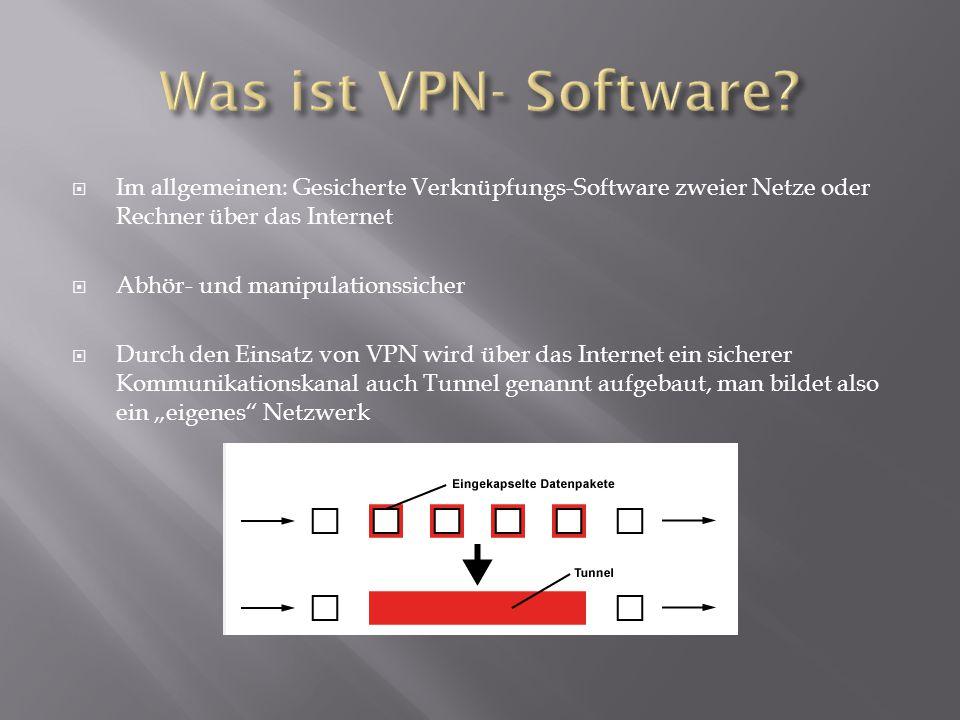  Im allgemeinen: Gesicherte Verknüpfungs-Software zweier Netze oder Rechner über das Internet  Abhör- und manipulationssicher  Durch den Einsatz vo