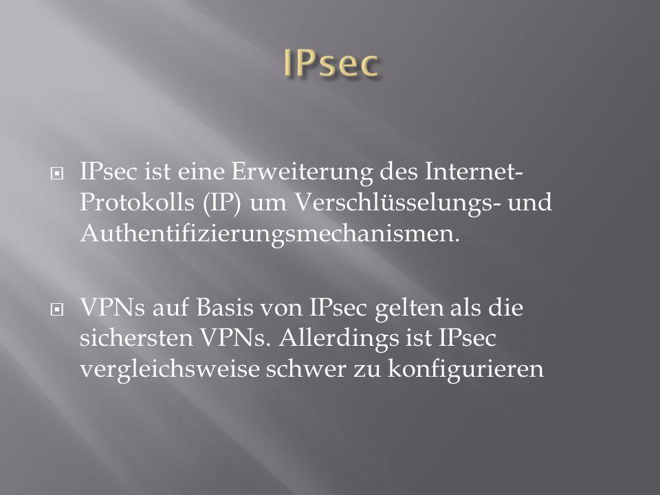  IPsec ist eine Erweiterung des Internet- Protokolls (IP) um Verschlüsselungs- und Authentifizierungsmechanismen.  VPNs auf Basis von IPsec gelten a