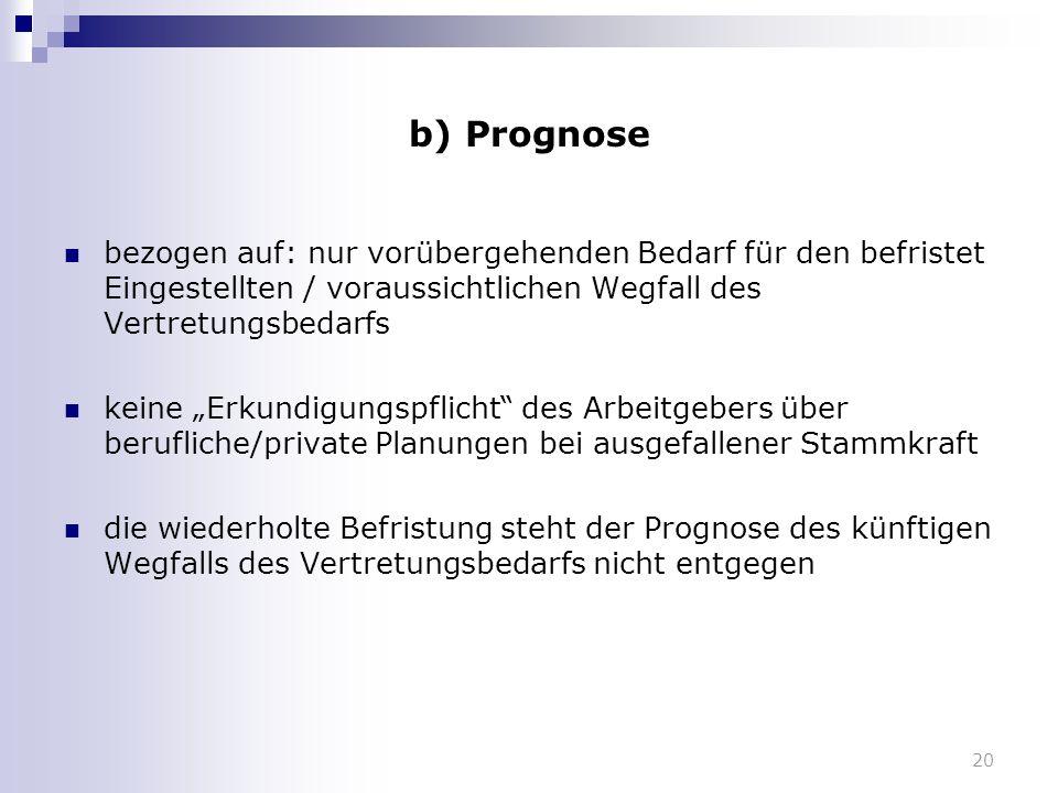 """20 b) Prognose bezogen auf: nur vorübergehenden Bedarf für den befristet Eingestellten / voraussichtlichen Wegfall des Vertretungsbedarfs keine """"Erkun"""