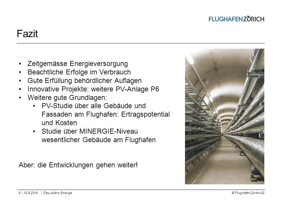 © Flughafen Zürich AG || Fazit 12.5.2015Öbu-Apéro: Energie8 Zeitgemässe Energieversorgung Beachtliche Erfolge im Verbrauch Gute Erfüllung behördlicher