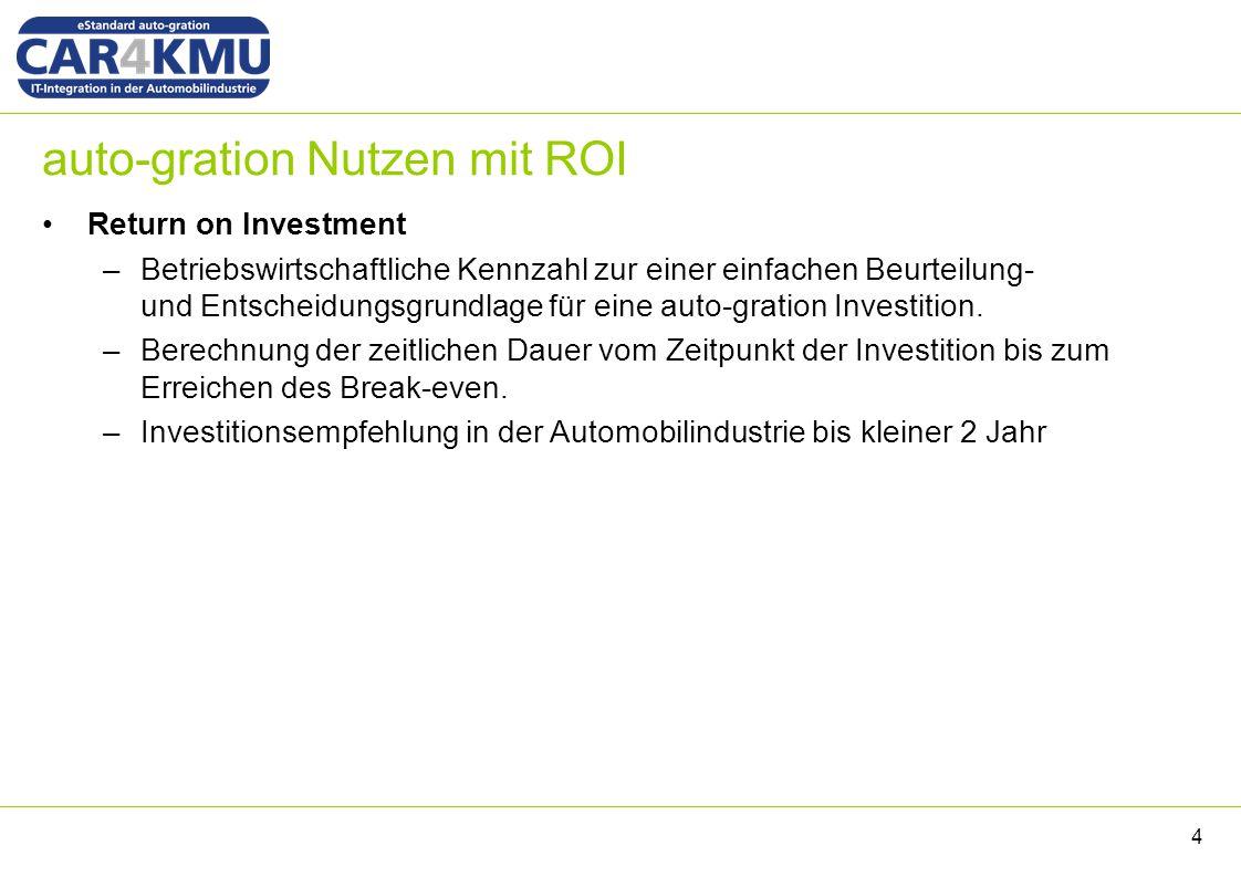 auto-gration Nutzen mit ROI Return on Investment –Betriebswirtschaftliche Kennzahl zur einer einfachen Beurteilung- und Entscheidungsgrundlage für eine auto-gration Investition.