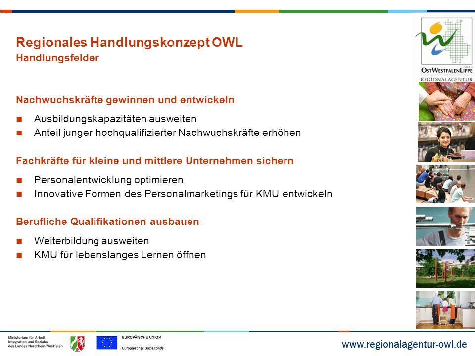 """www.regionalagentur-owl.de Umsetzung in OWL bis heute Projekte im Rahmen der Initiative Fachkräftesicherung 12 Fachkräfteprojekte aus OWL erhielten bisher eine Bewilligung, davon 3 in 2012 und 9 in 2013 8 dieser Projekte haben den Schwerpunkt """"Nachwuchskräfte gewinnen und entwickeln , davon wurden 2 in 2012 bewilligt, weitere 6 in 2013 4 Projekte beziehen sich auf das Handlungsfeld """"Fachkräfte für KMU sichern zusätzlich wurden 2013 im Rahmen der """"innovativen Modellvorhaben zwei OWL-Projekte zur Förderung vorgeschlagen: ProFit – AGW Minden und """"UP - Berufsbegleitende Qualifizierung von erwerbstätigen ALG II-Beziehern – tbz Bildung."""