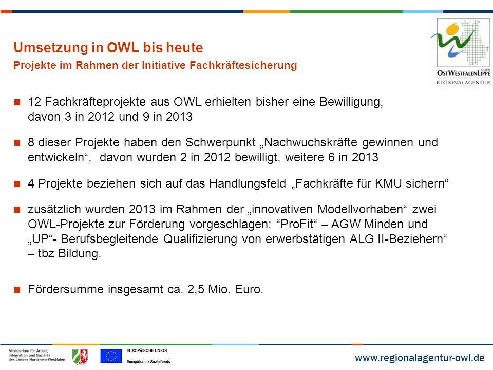 www.regionalagentur-owl.de Umsetzung in OWL bis heute Projekte im Rahmen der Initiative Fachkräftesicherung 12 Fachkräfteprojekte aus OWL erhielten bi