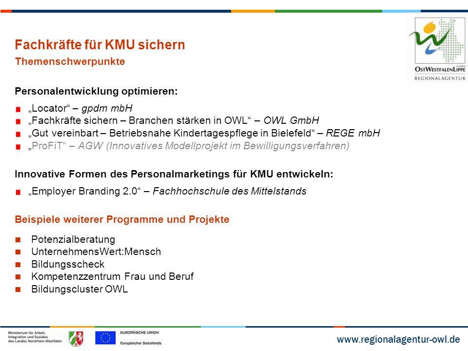 """www.regionalagentur-owl.de Fachkräfte für KMU sichern Themenschwerpunkte Personalentwicklung optimieren: """"Locator"""" – gpdm mbH """"Fachkräfte sichern – Br"""