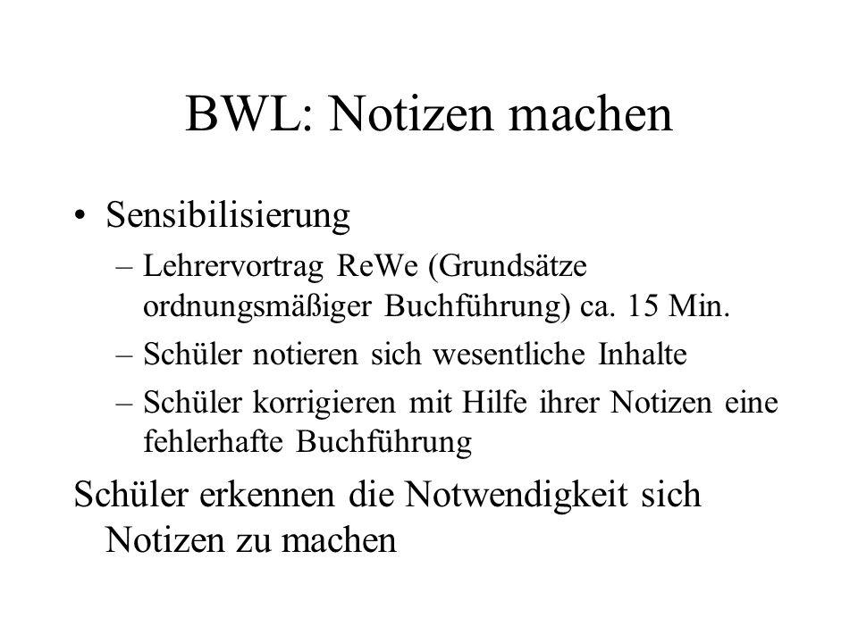 BWL: Notizen machen Sensibilisierung –Lehrervortrag ReWe (Grundsätze ordnungsmäßiger Buchführung) ca. 15 Min. –Schüler notieren sich wesentliche Inhal