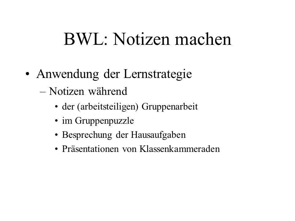 BWL: Notizen machen Anwendung der Lernstrategie –Notizen während der (arbeitsteiligen) Gruppenarbeit im Gruppenpuzzle Besprechung der Hausaufgaben Prä