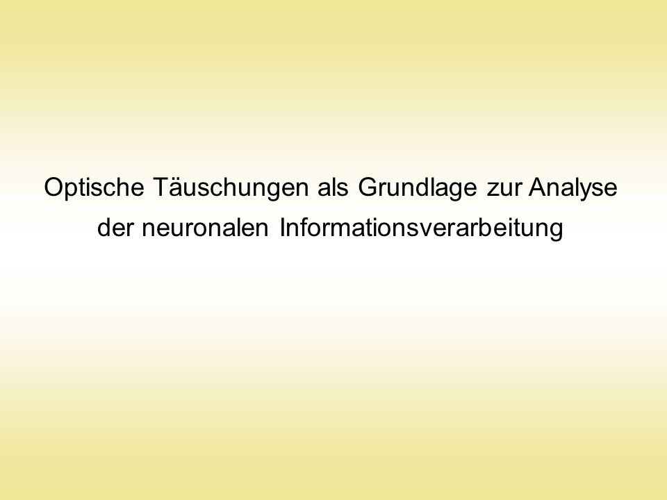 Optische Täuschungen als Grundlage zur Analyse der neuronalen Informationsverarbeitung