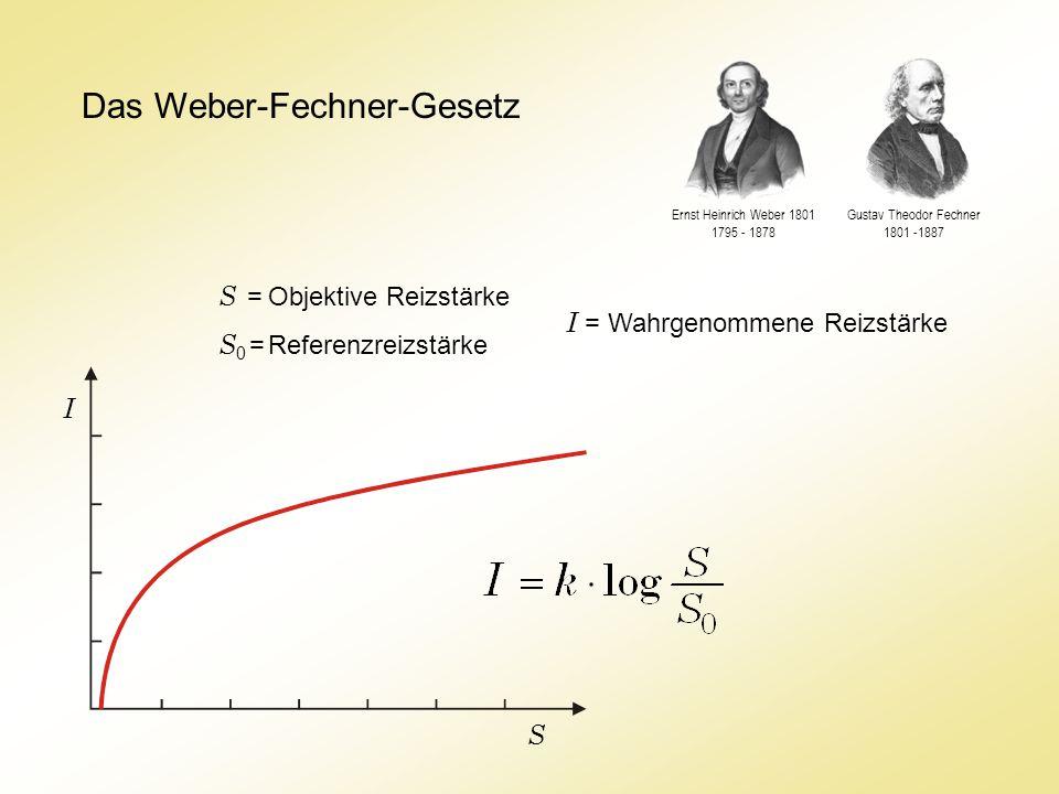 Das Weber-Fechner-Gesetz S = Objektive Reizstärke S 0 = Referenzreizstärke I = Wahrgenommene Reizstärke Gustav Theodor Fechner 1801 -1887 Ernst Heinrich Weber 1801 1795 - 1878 I S