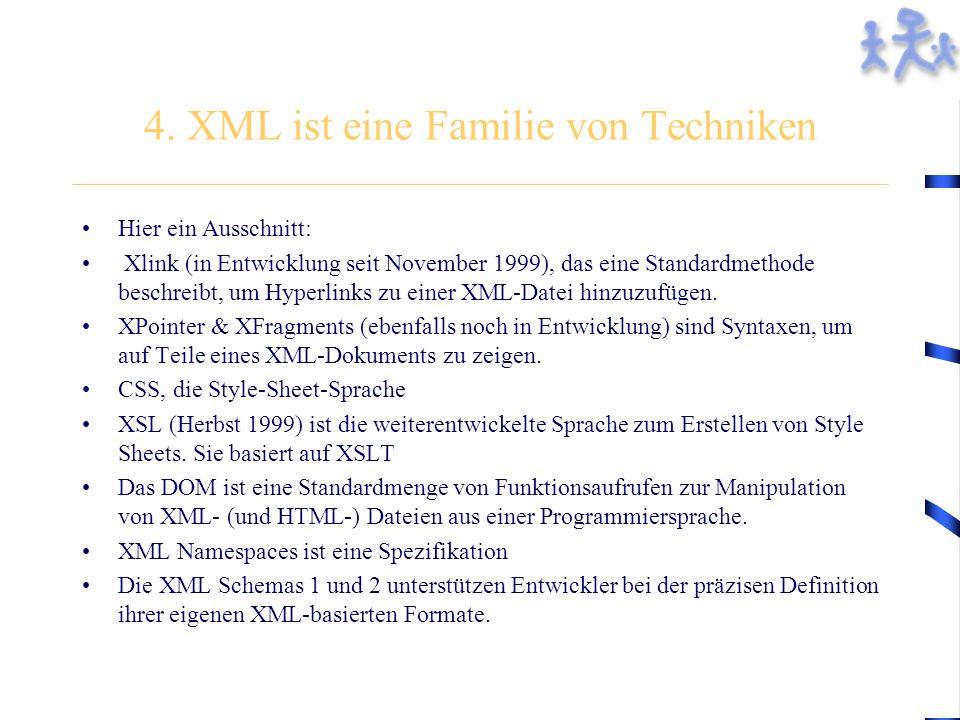 4. XML ist eine Familie von Techniken Hier ein Ausschnitt: Xlink (in Entwicklung seit November 1999), das eine Standardmethode beschreibt, um Hyperlin