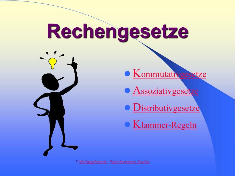 Rechengesetze K ommutativgesetze K ommutativgesetze A ssoziativgesetze A ssoziativgesetze D istributivgesetze D istributivgesetze K lammer-Regeln K lammer-Regeln © Wolfgang Roether Faust-Gymnasium Staufen