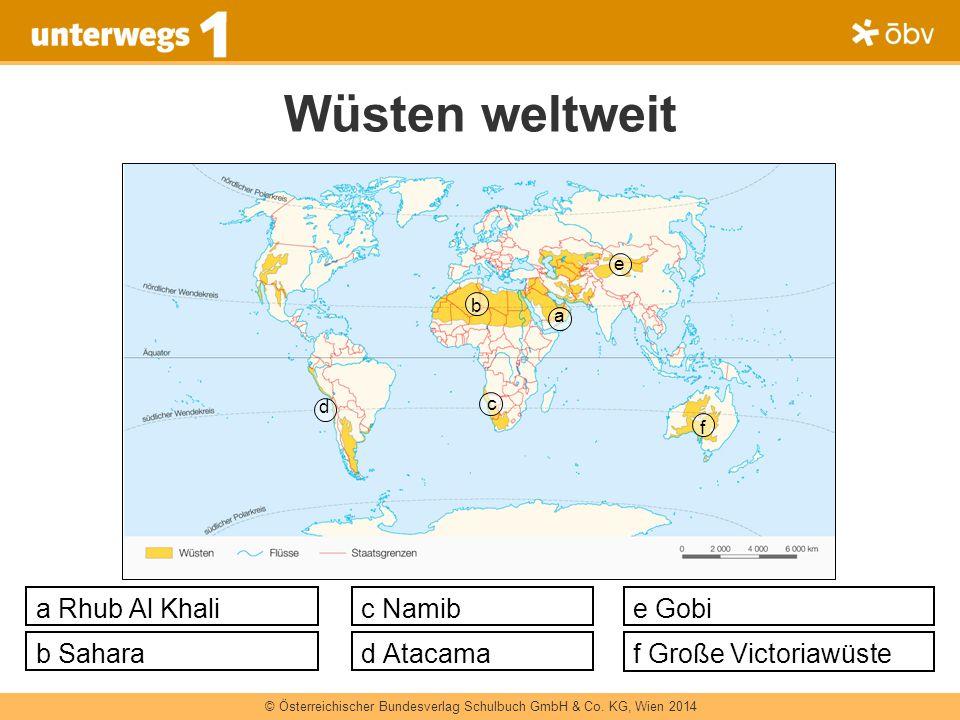 © Österreichischer Bundesverlag Schulbuch GmbH & Co. KG, Wien 2014 d b c a e f Wüsten weltweit a Rhub Al Khali d Atacama c Namib b Sahara e Gobi f Gro