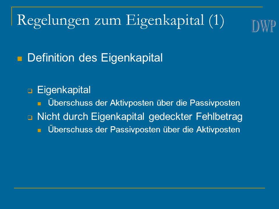 Regelungen zum Eigenkapital (1) Definition des Eigenkapital  Eigenkapital Überschuss der Aktivposten über die Passivposten  Nicht durch Eigenkapital
