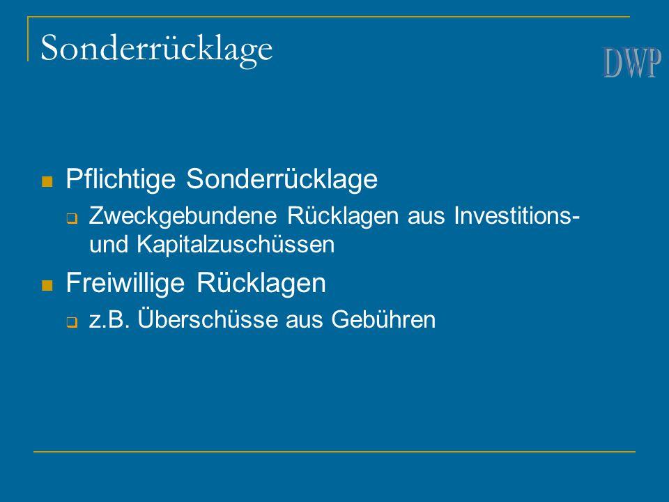 Sonderrücklage Pflichtige Sonderrücklage  Zweckgebundene Rücklagen aus Investitions- und Kapitalzuschüssen Freiwillige Rücklagen  z.B.