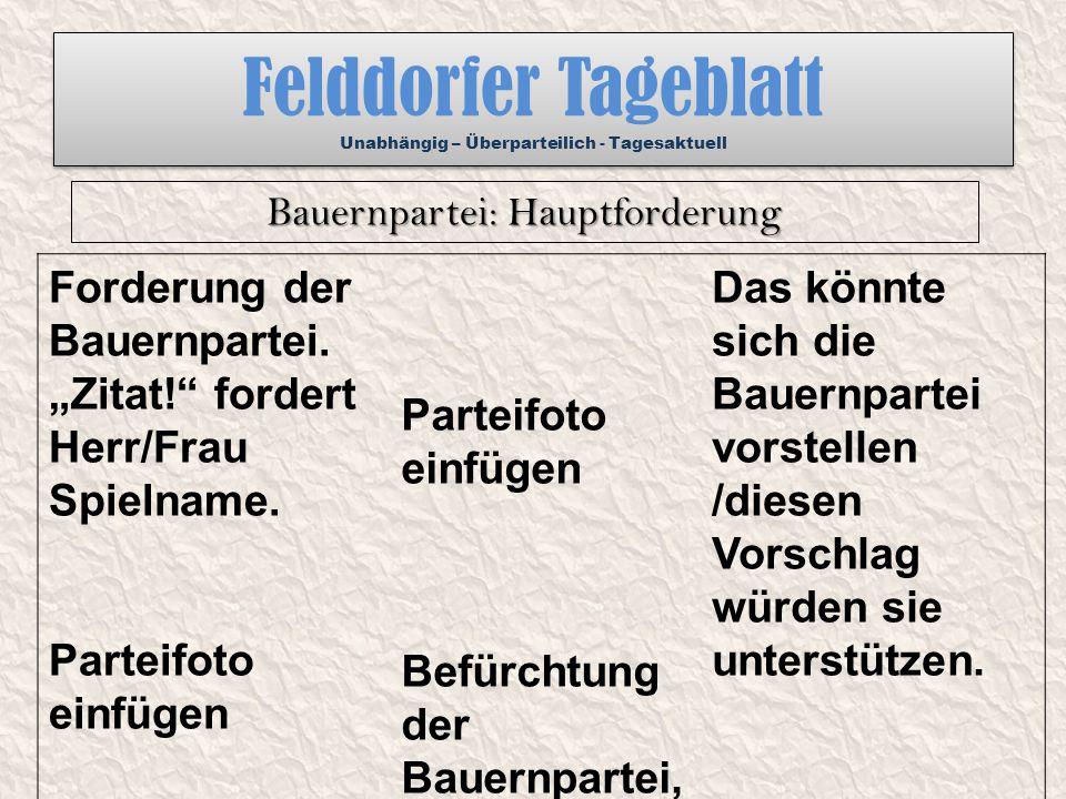 """Felddorfer Tageblatt Unabhängig – Überparteilich - Tagesaktuell Forderung der Bauernpartei. """"Zitat!"""" fordert Herr/Frau Spielname. Parteifoto einfügen"""