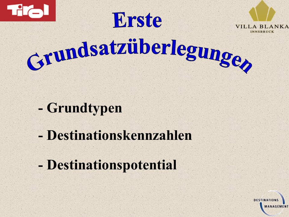 - Grundtypen - Destinationskennzahlen - Destinationspotential