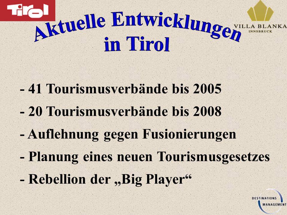 """- Auflehnung gegen Fusionierungen - 41 Tourismusverbände bis 2005 - 20 Tourismusverbände bis 2008 - Rebellion der """"Big Player - Planung eines neuen Tourismusgesetzes"""