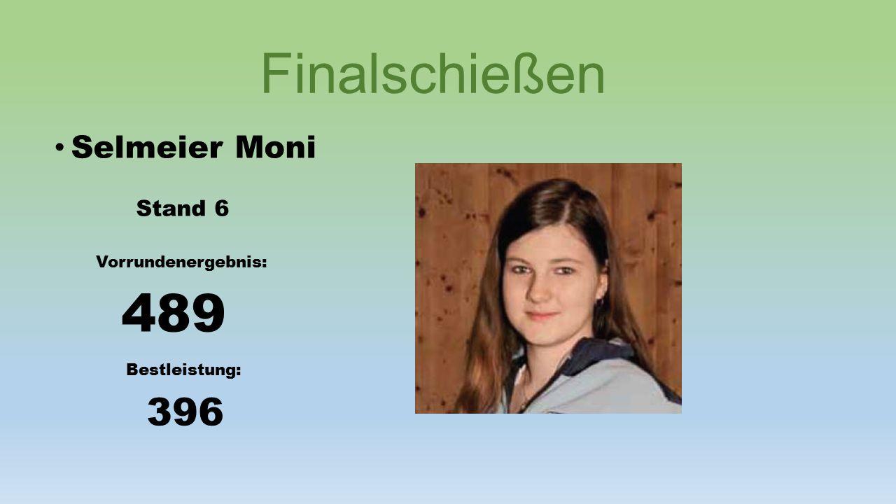 Finalschießen Selmeier Moni Stand 6 Vorrundenergebnis: 489 Bestleistung: 396