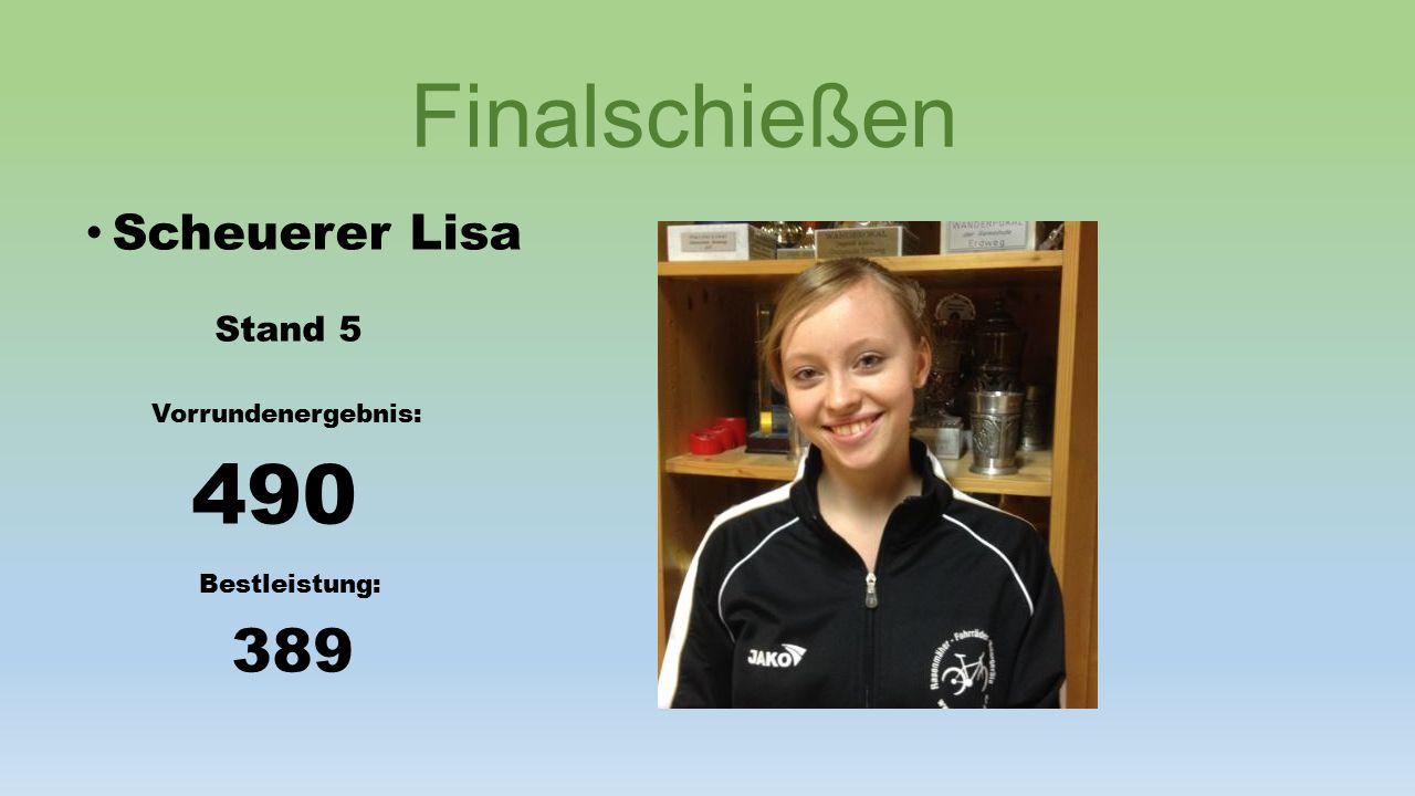 Finalschießen Schlosser Thomas Stand 4 Vorrundenergebnis: 490 Bestleistung: 390