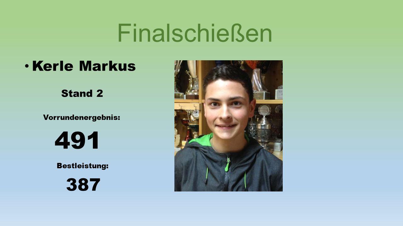Finalschießen Kerle Markus Stand 2 Vorrundenergebnis: 491 Bestleistung: 387