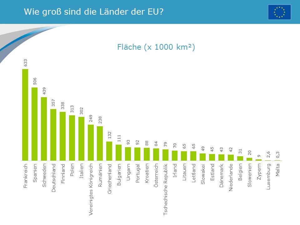 Wie groß sind die Länder der EU? Fläche (x 1000 km²)