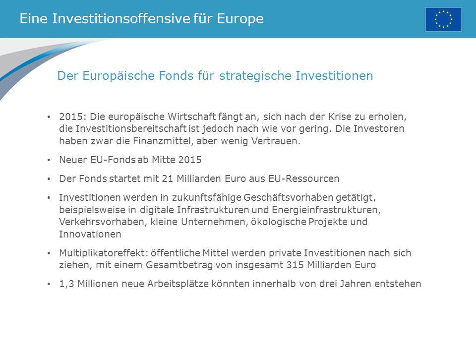 Eine Investitionsoffensive für Europe Der Europäische Fonds für strategische Investitionen 2015: Die europäische Wirtschaft fängt an, sich nach der Kr