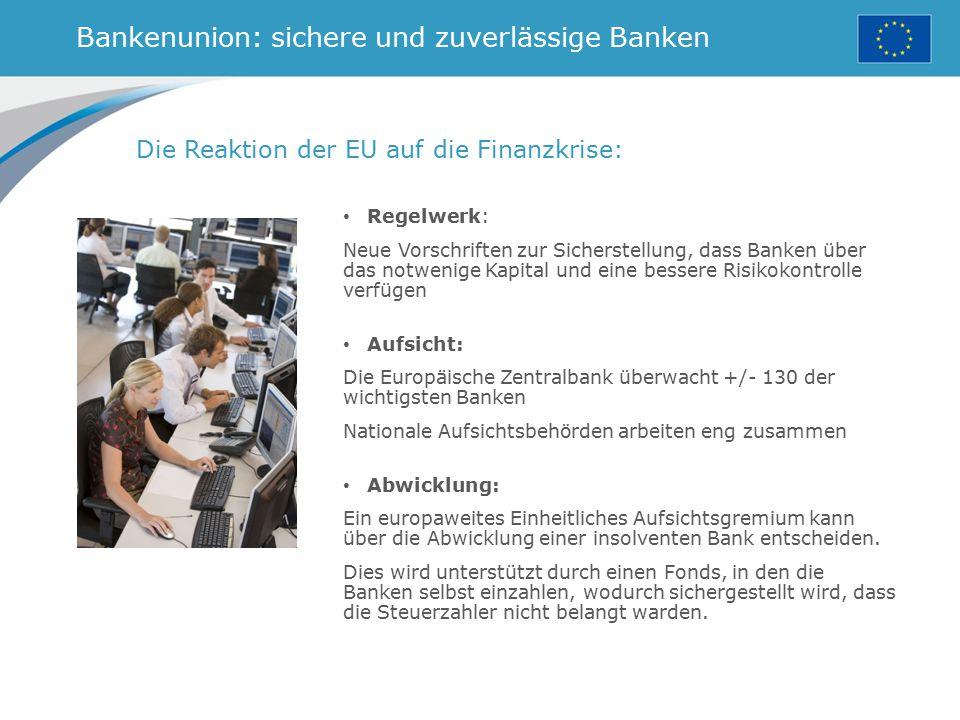 Bankenunion: sichere und zuverlässige Banken Die Reaktion der EU auf die Finanzkrise: Regelwerk: Neue Vorschriften zur Sicherstellung, dass Banken übe