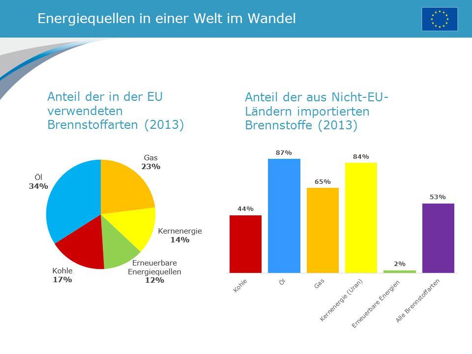 Energiequellen in einer Welt im Wandel Anteil der in der EU verwendeten Brennstoffarten (2013) Anteil der aus Nicht-EU- Ländern importierten Brennstof