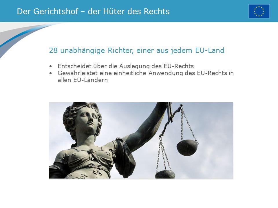 Der Gerichtshof – der Hüter des Rechts 28 unabhängige Richter, einer aus jedem EU-Land Entscheidet über die Auslegung des EU-Rechts Gewährleistet eine