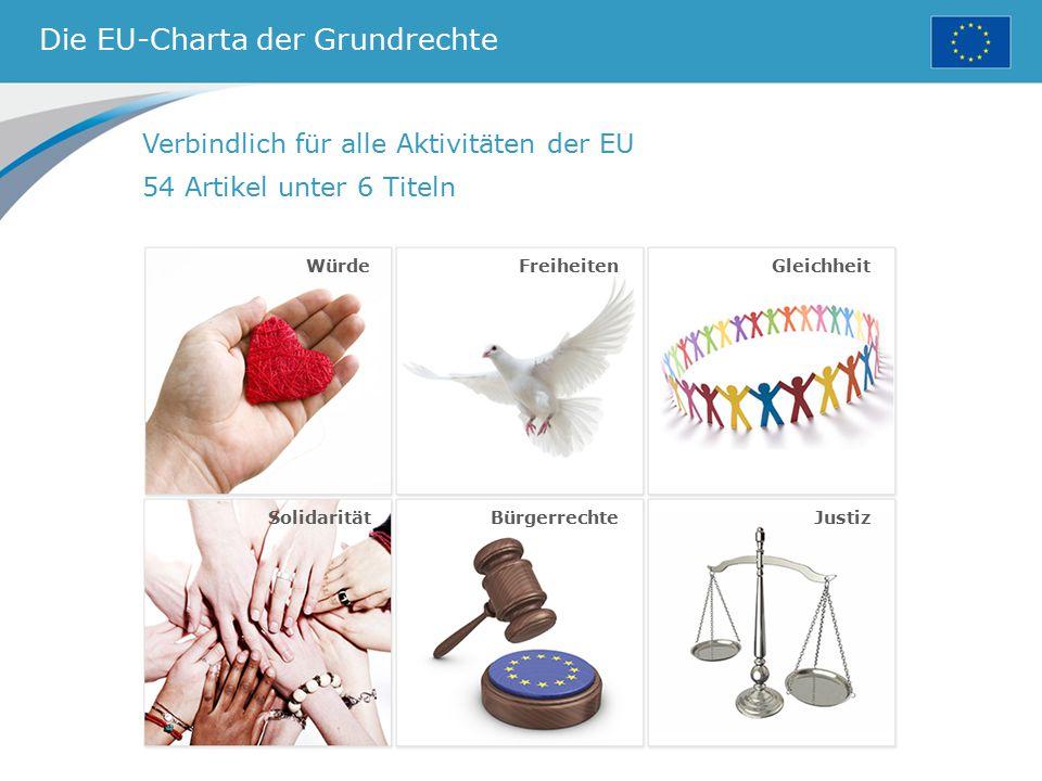Die EU-Charta der Grundrechte Verbindlich für alle Aktivitäten der EU 54 Artikel unter 6 Titeln FreiheitenGleichheit SolidaritätBürgerrechteJustiz Wür