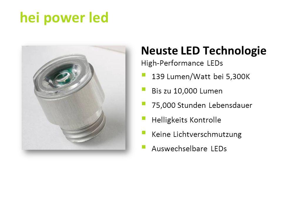 Neuste LED Technologie High-Performance LEDs  139 Lumen/Watt bei 5,300K  Bis zu 10,000 Lumen  75,000 Stunden Lebensdauer  Helligkeits Kontrolle 