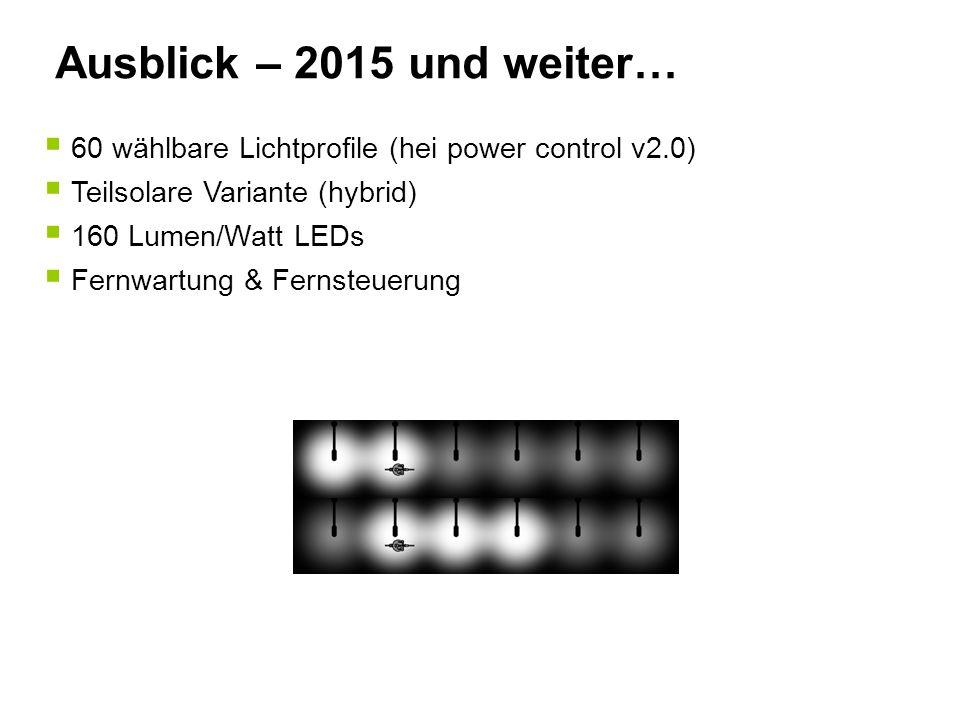 Ausblick – 2015 und weiter…  60 wählbare Lichtprofile (hei power control v2.0)  Teilsolare Variante (hybrid)  160 Lumen/Watt LEDs  Fernwartung & F