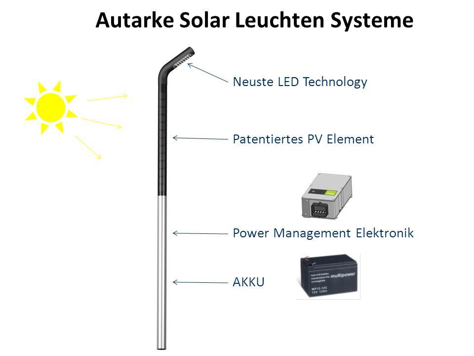 Autarke Solar Leuchten Systeme Neuste LED Technology Patentiertes PV Element Power Management Elektronik AKKU