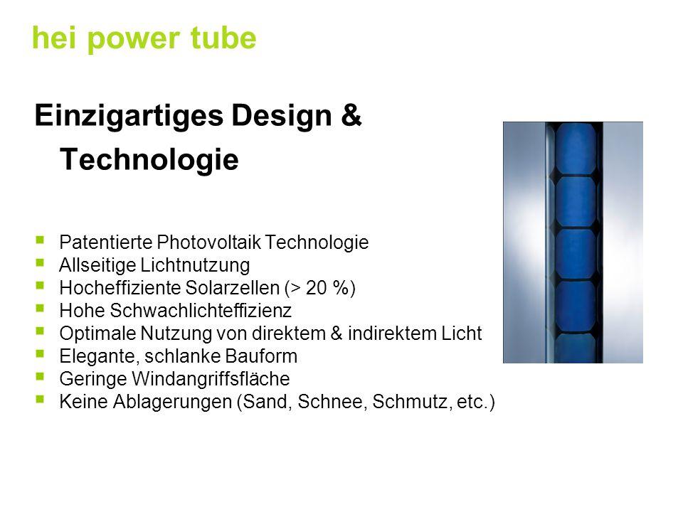 Einzigartiges Design & Technologie  Patentierte Photovoltaik Technologie  Allseitige Lichtnutzung  Hocheffiziente Solarzellen (> 20 %)  Hohe Schwa