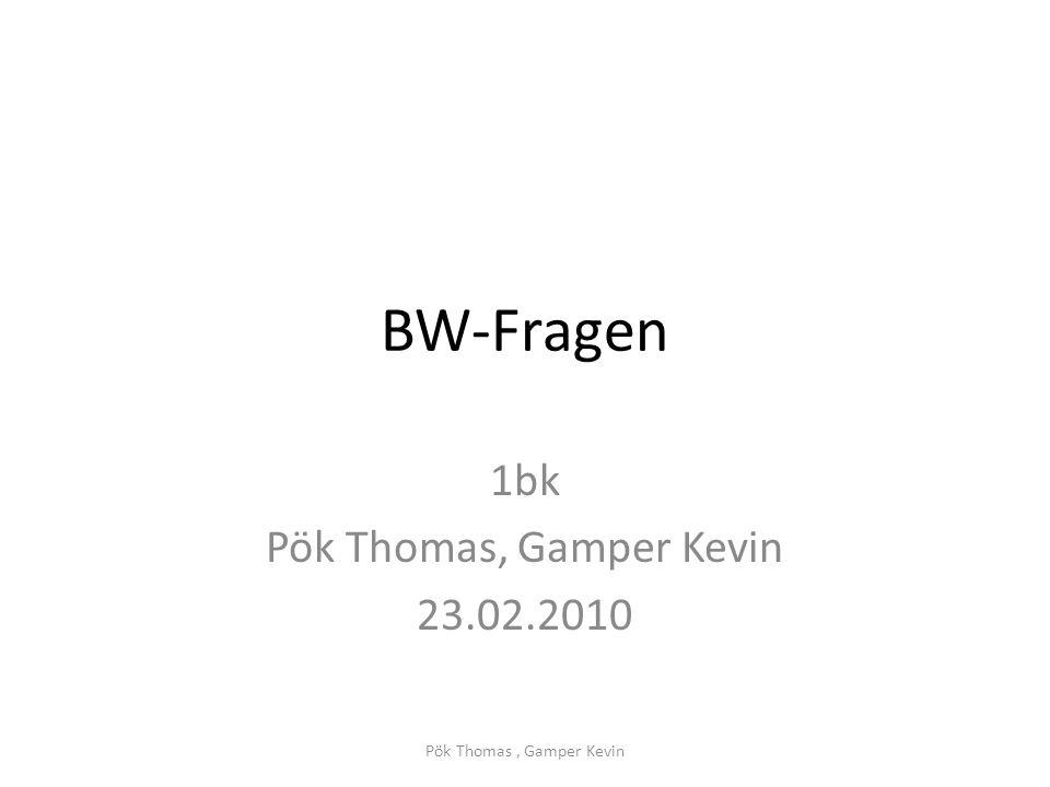 BW-Fragen 1bk Pök Thomas, Gamper Kevin 23.02.2010 Pök Thomas, Gamper Kevin