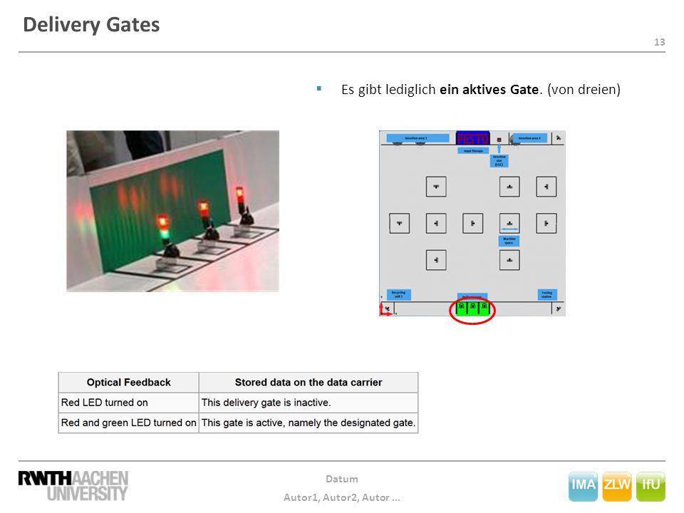 13 Datum Autor1, Autor2, Autor... Delivery Gates  Es gibt lediglich ein aktives Gate. (von dreien)