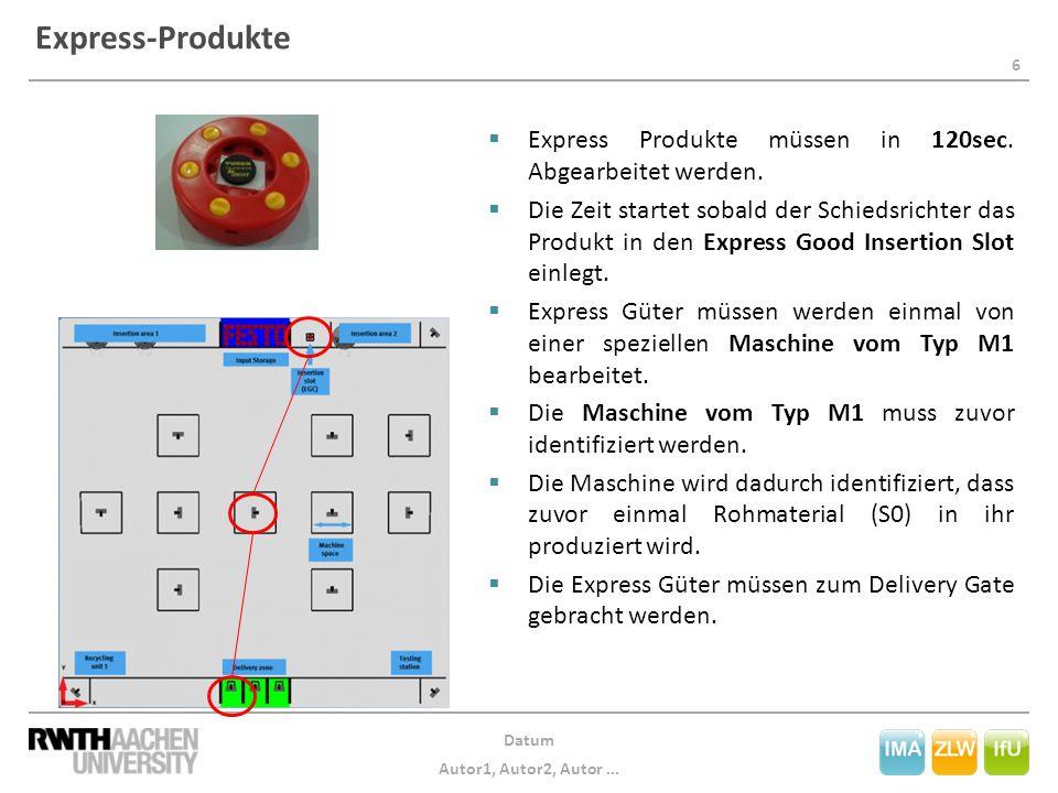 6 Datum Autor1, Autor2, Autor... Express-Produkte  Express Produkte müssen in 120sec.