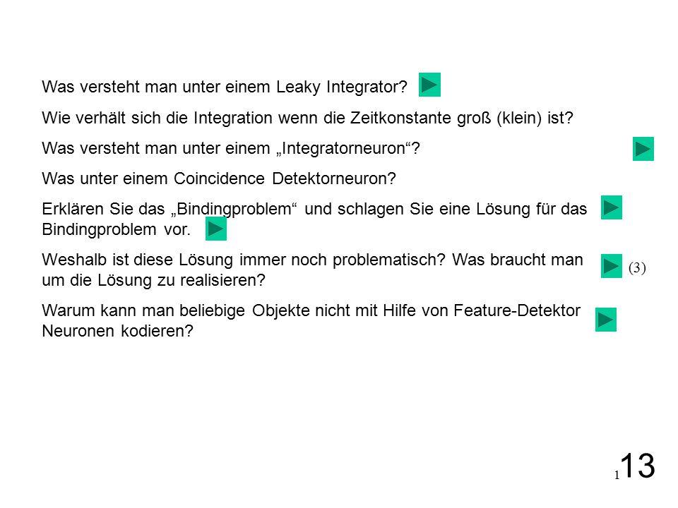 1 Was versteht man unter einem Leaky Integrator? Wie verhält sich die Integration wenn die Zeitkonstante groß (klein) ist? Was versteht man unter eine