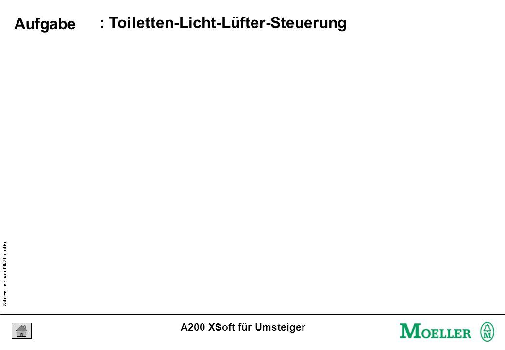 Schutzvermerk nach DIN 34 beachten 24/07/15 Seite 6 A200 XSoft für Umsteiger : Toiletten-Licht-Lüfter-Steuerung Aufgabe