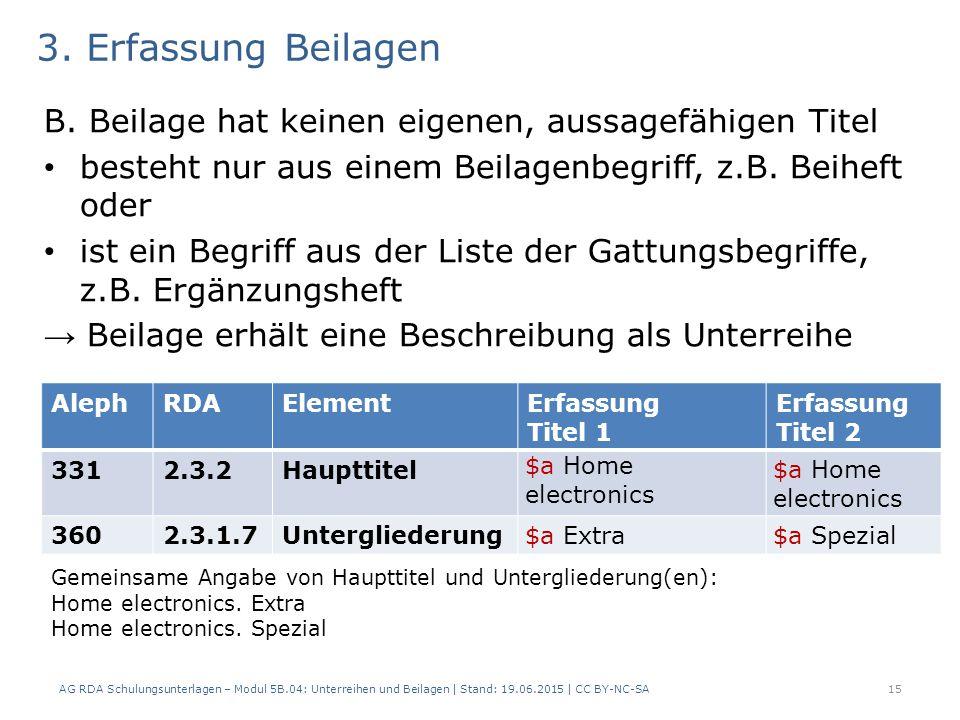 3. Erfassung Beilagen B. Beilage hat keinen eigenen, aussagefähigen Titel besteht nur aus einem Beilagenbegriff, z.B. Beiheft oder ist ein Begriff aus