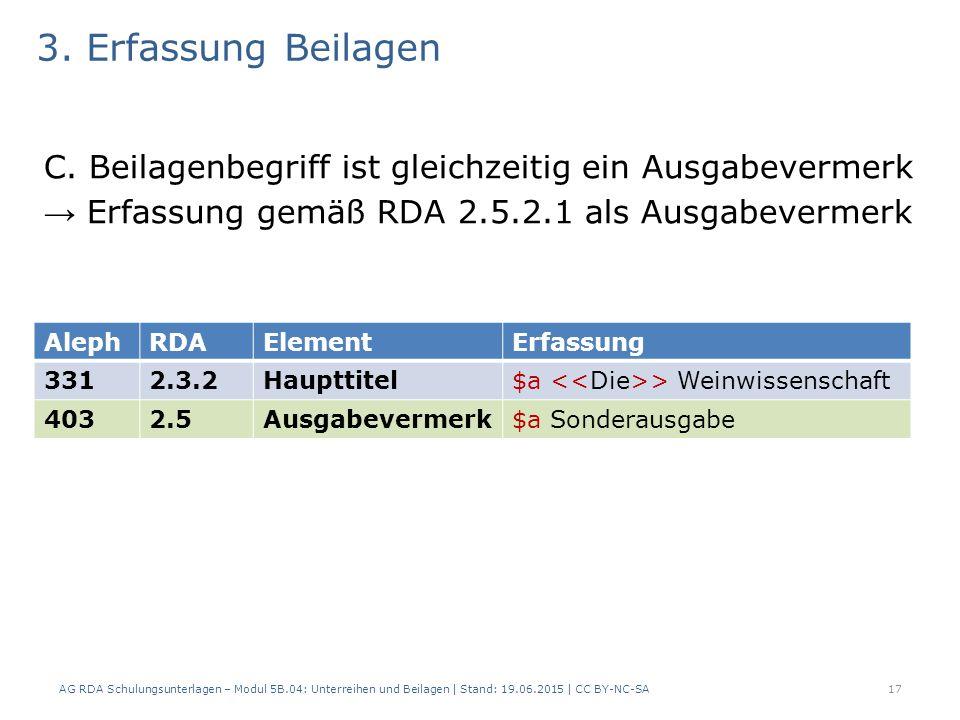 3. Erfassung Beilagen C. Beilagenbegriff ist gleichzeitig ein Ausgabevermerk → Erfassung gemäß RDA 2.5.2.1 als Ausgabevermerk AG RDA Schulungsunterlag