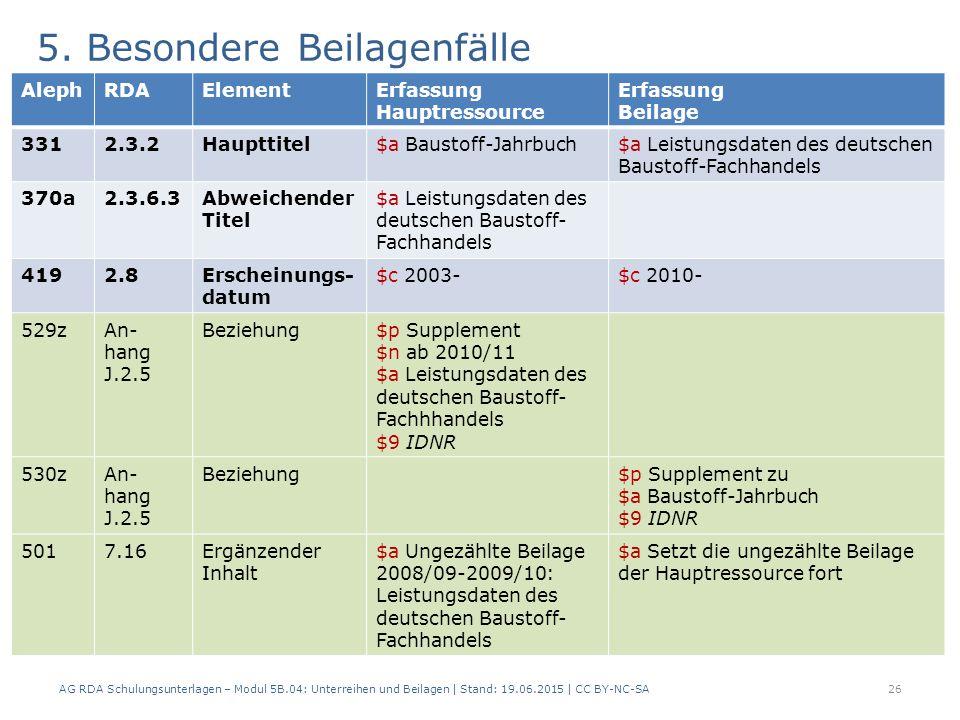 5. Besondere Beilagenfälle C.