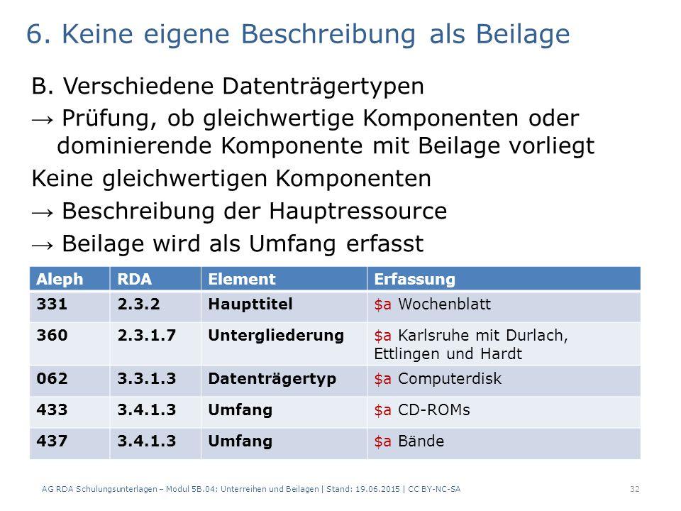 6. Keine eigene Beschreibung als Beilage B. Verschiedene Datenträgertypen → Prüfung, ob gleichwertige Komponenten oder dominierende Komponente mit Bei