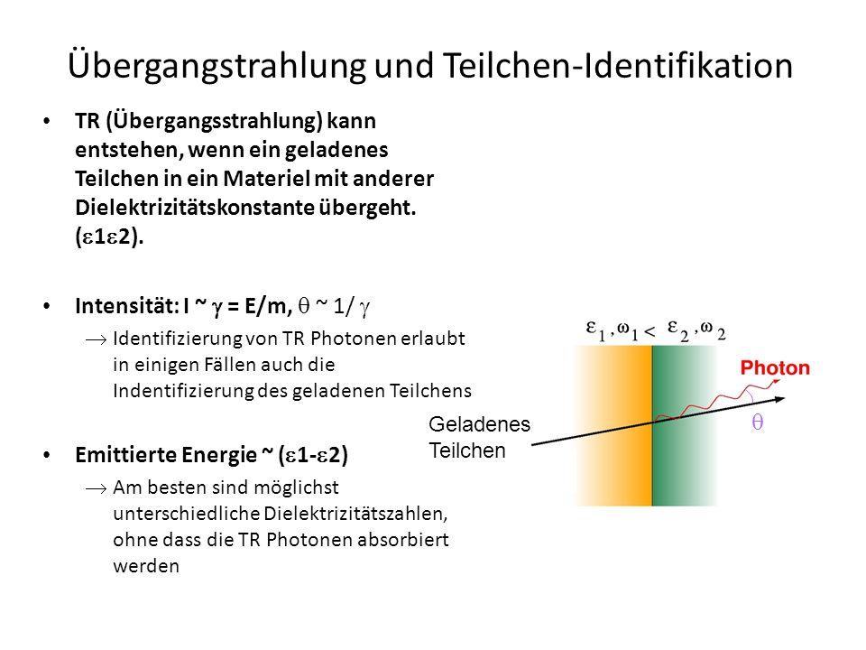 Ein typischer TR Detektor besteht aus Radiator (zur Erzeugung der TR Photonen) Regular radiators (foils), e.g.