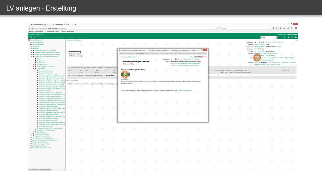 LV verknüpfen – Prüfungsknoten auswählen Richtigen Prüfungsknoten auswählen