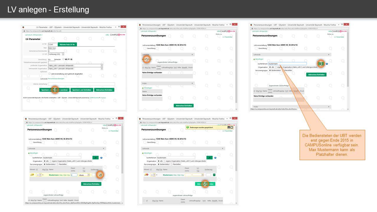 LV erstellen – alle anzeigen LV ist nicht gemeldet und nicht genehmigt, also nicht im Lehrangebot sichtbar