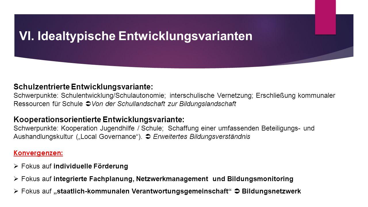 VI. Idealtypische Entwicklungsvarianten Schulzentrierte Entwicklungsvariante: Schwerpunkte: Schulentwicklung/Schulautonomie; interschulische Vernetzun