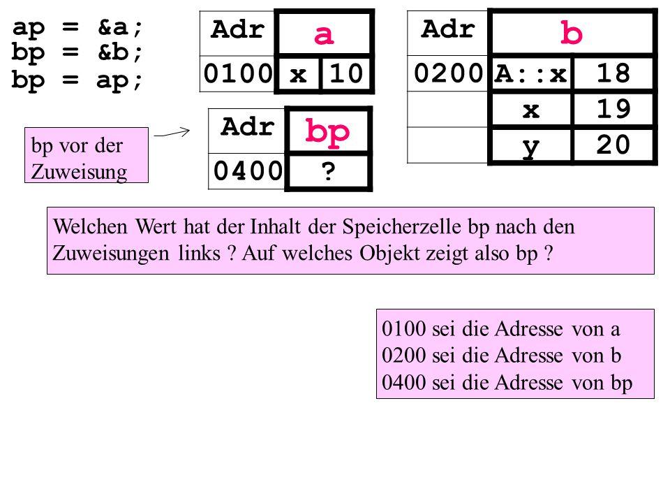 ap = &a; bp = &b; bp = ap; Adr a 0100x10 Welchen Wert hat der Inhalt der Speicherzelle bp nach den Zuweisungen links .