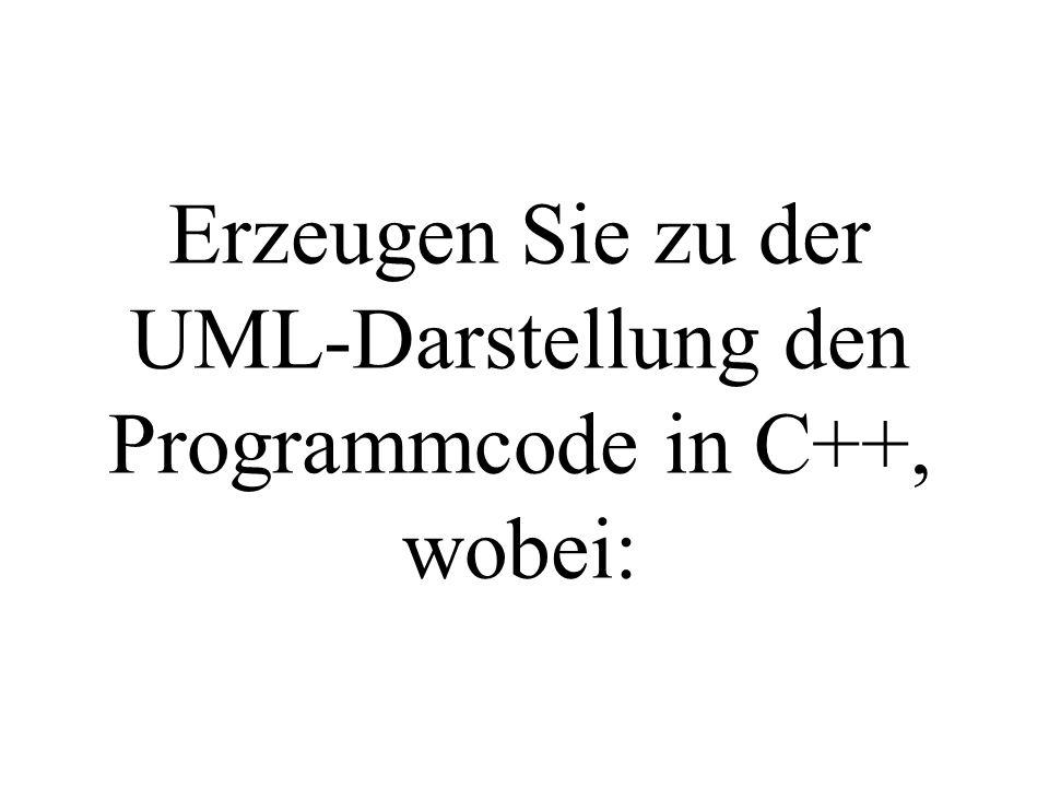 Erzeugen Sie zu der UML-Darstellung den Programmcode in C++, wobei:
