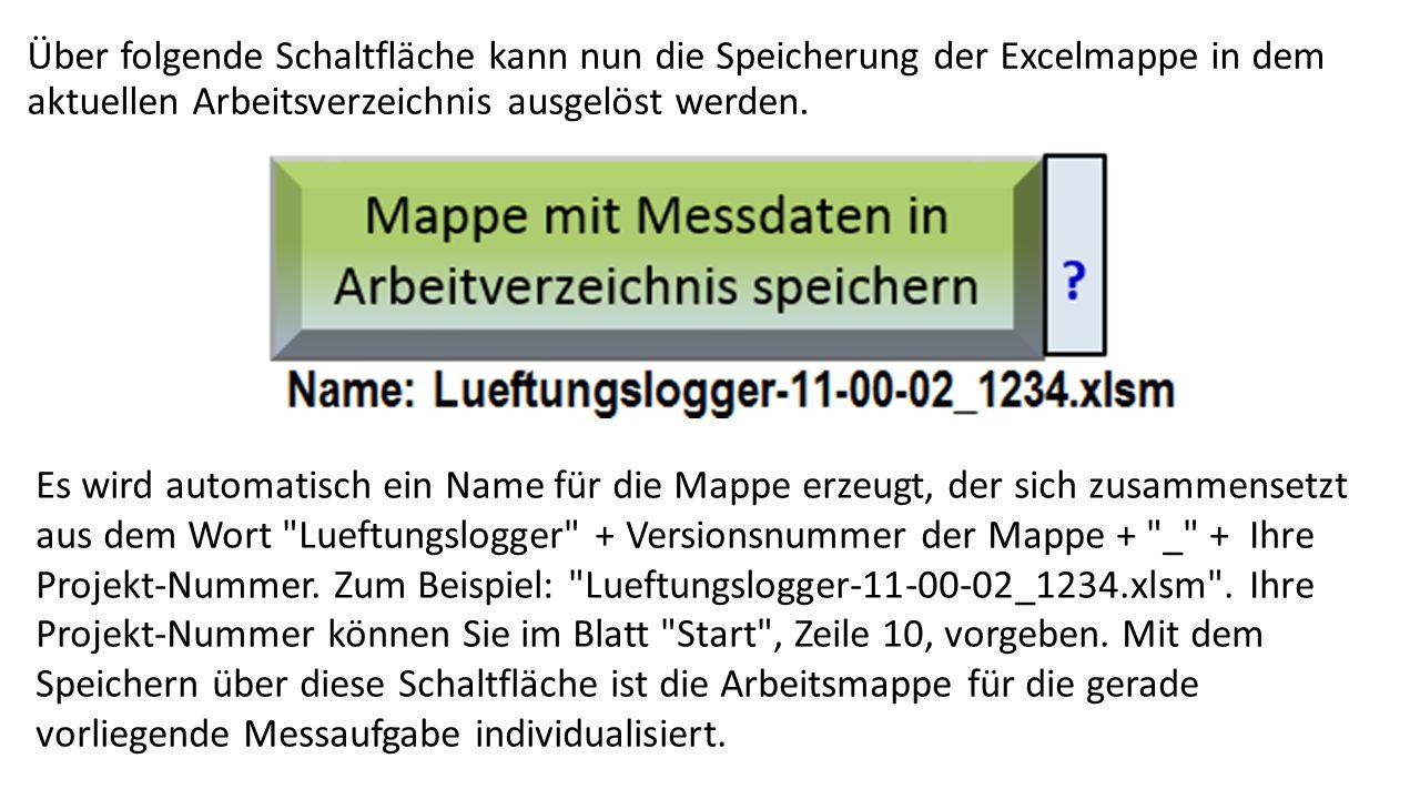Über folgende Schaltfläche kann nun die Speicherung der Excelmappe in dem aktuellen Arbeitsverzeichnis ausgelöst werden. Es wird automatisch ein Name