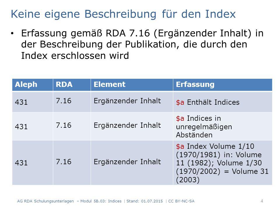 Keine eigene Beschreibung für den Index Erfassung gemäß RDA 7.16 (Ergänzender Inhalt) in der Beschreibung der Publikation, die durch den Index erschlossen wird AG RDA Schulungsunterlagen – Modul 5B.03: Indices | Stand: 01.07.2015 | CC BY-NC-SA 4 AlephRDAElementErfassung 431 7.16Ergänzender Inhalt $a Enthält Indices 431 7.16Ergänzender Inhalt $a Indices in unregelmäßigen Abständen 431 7.16Ergänzender Inhalt $a Index Volume 1/10 (1970/1981) in: Volume 11 (1982); Volume 1/30 (1970/2002) = Volume 31 (2003)
